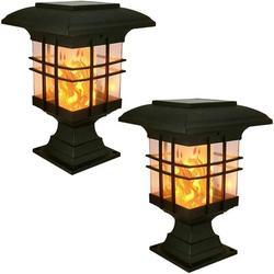 SpicyMedia Solar Post Lights Outdoor Lighting in Black/Brown/Gray, Size 8.07 H x 5.3 W x 5.3 D in | Wayfair QS6203B08P6Y76MP