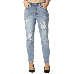 Almost Famous Juniors High Rise Cuffed Jean Denim - Vintage Ripped Front Mom Jeans for Women