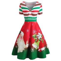 Women Christmas Vintage Retro Dress, V Neck Stripe Cute Printed Patchwork Swing Cocktail Party Dress