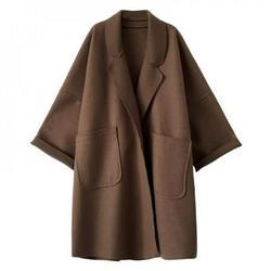 Hazel Tech-Woolen coat WOMEN'S Loose Woolen Casual COAT Long-sleeved Elegant Coat Woolen coat Long Plaid Wool Blend Pea Coat Outerwear