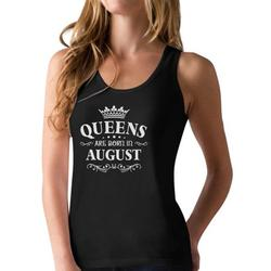 Tstars Womens Birthday Gift for Women Queens Are Born in August Birthday Party B Day Racerback Tank Top