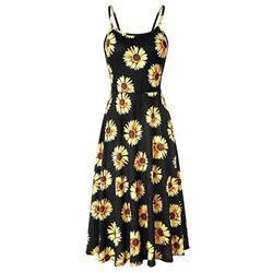 Women's Summer Popular Cute Sexy Backless Floral Printed Loose Strap Large Swing Dress