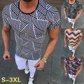 Men Slim Fit Print Graphic T Shirt Summer Casual Short Sleeve Shirt Fashion Fitness O-Neck Tee Tops Blouses
