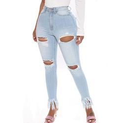 Women Ripped Boyfriend Jeans Cute Distressed Jeans Stretch Skinny Jeans with Hole Ladies High Waist Ripped Pencil Pants Denim Jeans Casual Strech Long Trousers