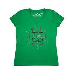 Inktastic I Love My Husband Diabetes Awareness Adult Women's V-Neck T-Shirt Female