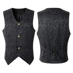 Men Fashion Punk Jacket Vintage Overcoat Outwear Button Tailcoat Vest Coat