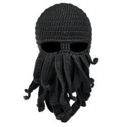 Men & Women Beard Hat Beanie Hat Knit Hat Winter Warm Octopus Hat Windproof Funny Costume Cosplay Mask Ski Mask Black