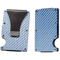 RFID Carbon Fiber Wallets for Men - Carbon Fiber Money Clip Wallet Metal - Mens Carbon Fiber Wallet Slim - Mens Wallet Carbon Fiber Card Holder with Money Clip - BLUE