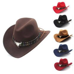 Outdoor Casual Fashion Personality hat Summer Spring Autumn Winter Wool Hat Women Men Ethnic Style Western Cowboy Hat for Lady Tassel Felt Cowgirl Sombrero Caps Travel Sun Hat Wild hat