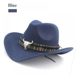 Western Cowboy Hat Hat Fashion Women's Western Cowboy Hat Jazz Hat with Bismuth Alloy Tape Equestrian Hat