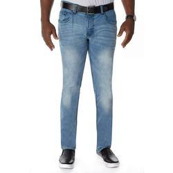 Men's Jean Denim Flex Stretch Slim Skinny Fit with Belt Fashion Saddle Pockets Jeans Pants for Work