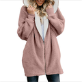Solid Color Loose Plush Zipper Hooded Coat Autumn and Winter Warm Jacket