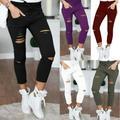 Women Ripped Jeans Denim Pencil Pants High Waist Stretch Long Trousers Jeggings