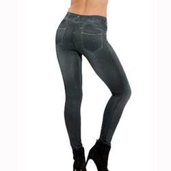 Women's Denim Print Fake Jeans Seamless Full Length Leggings, Women's Stretch Pull-On Skinny Denim Jeggings with Pockets Plus Size L-3XL, Black