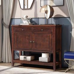 """Rosecliff Heights Modern Mid-Century 39"""" Console Table w/ 2 Drawers, 2 Cabinets & 1 Shelf Wood in Brown/Green, Size 33.5 H x 39.0 W x 14.0 D in"""