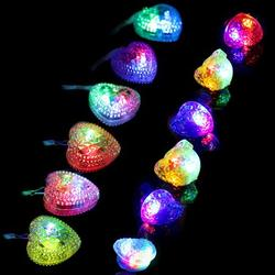 Bangcool 6PCS Light up Necklace Heart LED Necklace Party Necklace with 6 LED Finger Ring