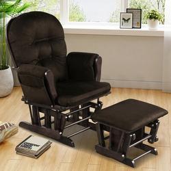 Harriet Bee Glider & Ottoman Cushion Set Wood Baby Nursery Rocking Chair Beige in Brown, Size 39.5 H x 29.5 W x 28.5 D in   Wayfair