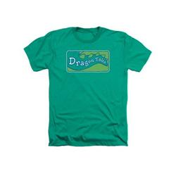 Dragon Tales Animated Series Show Logo Clean On Green Adult Heather T-Shirt Tee