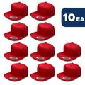 L2K Men's Youth Pro Style Cotton Twill Snapback Hats ( Ages 6-14) 6308B Red 10PACK