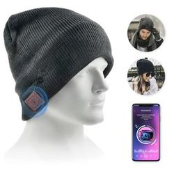 Bluetooth Beanie Hat, Flashmen Upgraded Wireless Bluetooth 5.0 Beanie Hat with Headphones Headset Earphone Knitted Beanie with Stereo Speakers and Mic for Women Men