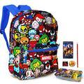 Marvel Kawaii Avengers Backpack Set Boys Girls Kids -- 6 Piece Marvel Superhero School Backpack Bag Set with Snack Box, Pencils, Bookmarks, Stickers and More (Marvel School Supplies)