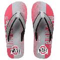 FOCO NCAA Men's Ohio State Buckeyes Contour Fade Wordmark Flip Flop Sandals
