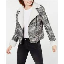 Maralyn & Me Juniors Faux-Shearling-Trim Moto Jacket, Black/White/Camel Plaid XS