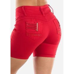 Womens Juniors Mid Rise Levanta Cola Denim Shorts - Butt Lifting Shorty Shorts - Denim Red Shorts 10523J