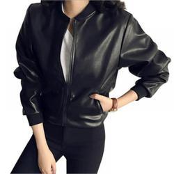 Women's Jacket Faux Leather PU Jacket Korean Style Slim Short Jacket Motorcycle Biker Coat with Pockets, Average Size, Black
