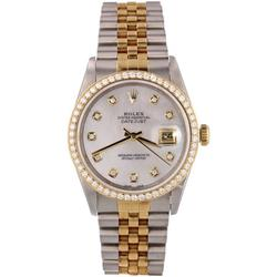 Pre-Owned Mens Two Tone Datejust White Mop Diamond, 18kt Yellow Gold Diamond Bezel, Stainless Steel & 18kt Yellow Gold Jubilee Band, 36mm