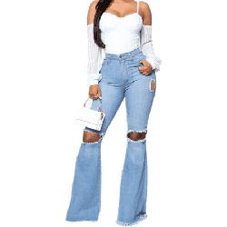 Women's Bell Bottom Jeans Ripped Hole Classic Denim Flare Pants Destoryed Flare Jeans Elastic Waist Bell Bottom Raw Hem Denim Pants