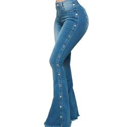 Women's Jeans Casual Slim Stretchy Flare Jeans High Waist Denim Long Flare Pants Fashion Rivet Bootcut Jeans Trousers