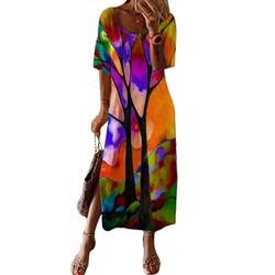 Sexy Dance Women Summer Beach Maxi Dress Retro Fashion Short Sleeve Kaftan Ladies Cute Cartoon Tie Dye Printed Vintage Dress side split Hem Orange L(US 10-12)