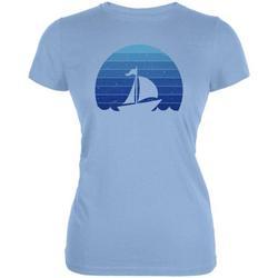 Marina Ocean Sail Boat Silhouette Retro Sunset Blue Juniors Soft T Shirt Light Blue MD