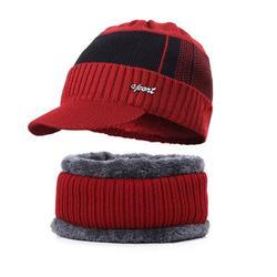 Citgeett Winter Beanie Hat Scarf Set,2PCS Knit Winter Warm Beanies Hat Thick Fleece Lined Winter Skull Cap Scarf for Men Boys