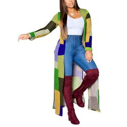 Women Plaid Color Block Long Sleeve Kimono Loose Cardigan Lightweight Cover Up Ladies Color Plaid Cardigan Ladies Open Front Casual Knit Long Sleeve Sweaters