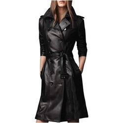 Outfit Craze Women's Black Slim Fit Long Trench Leather Coat with Belted Closure (XL)