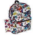 "Marvel Spiderman Backpack for Boys Girls Kids - 16"" Marvel Comics Spiderman School Backpack Bag Bundle with Avengers Stickers (Spiderman School Supplies)"