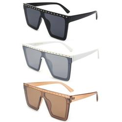 3 Packs Newbee Fashion One Piece Flat Lens Oversized Fashion Sunglasses for Women, Rectangle Flat Top Wind Shield Composite Frame, Square Retro Rimless Style, Pins Design, UV400, Black, White & Brown