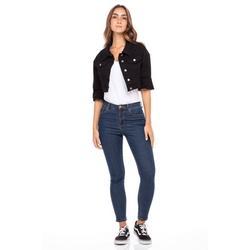 Women's Oversized Denim Jacket Long Sleeve Ladies Plus Size Jean Cropped Jackets Black S