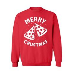 Awkward Styles Merry Crustmas Christmas Sweatshirt Pizza Christmas Funny Sweater Xmas Party Merry Christmas Holiday Sweatshirt Christmas Sweatshirt for Men Women Holidays Gift Idea For Pizza Lovers
