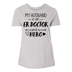 Inktastic My Husband is an ER Doctor and a Hero Adult Women's Plus Size T-Shirt Female Heather 4X
