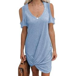 Bseka Womens Casual Round Neck Off Shoulder Short Sleeve Round Neck T Shirt Dresses Twist Front Knot Tunic Dress for Women