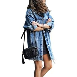 Casual Loose Long Denim Jacket for Women Distressed Ripped Long Sleeve Oversized Denim Jeans Jackets Coat Ladies Autumn Winter Lapel Neck Outwear