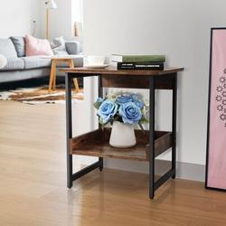 17 Stories Industrial Home End Table Night Stand Wood in Black/Brown, Size 22.83 H x 15.75 W x 19.69 D in   Wayfair
