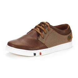 BRUNO MARC Mens Mesh Leather Sneakers Casual Shoes Slip On Lace Up Waking Shoes NY-03 BROWN 9
