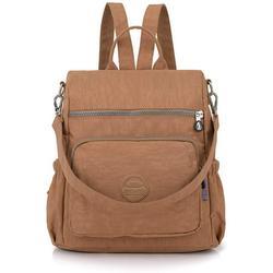 Ladies backpacks, woman nylon backpack shoulder bag multifunctional school backpacks anti theft waterproof shoulder bag daypack for girls leisure time school excursion shopping (khaki)