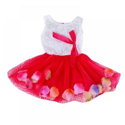 Little Baby Girls Sleeveless Flower Petal Infant Flower Girl Dress Princess Party Lace Bow Flower Cute Dresses Child Party Dance Clothes,Red