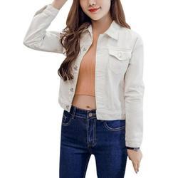 Boyfriend Jean Jacket Women Denim Jackets Vintage Long Sleeve Jacket Casual Slim Coat Candy Color Bomber Jacket White XL