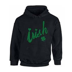 St. Patricks Day Hoodie Green Clover Leaf Hooded Sweatshirt Shamrock Sweater for Him Irish Clover Hoodie for Her Pattys Day